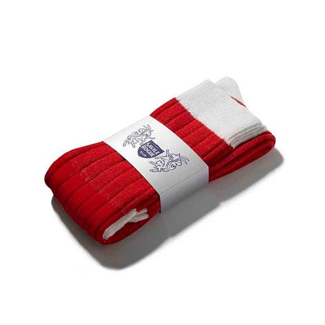 Cashmere Football Socks (Red/White)