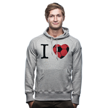 I Love Football Hooded Sweater // Grey Mêlée 70% cotton/30% polyester