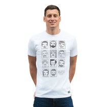 Football Fashion - Badly Drawn Footballers T-Shirt - White - COPA 6778