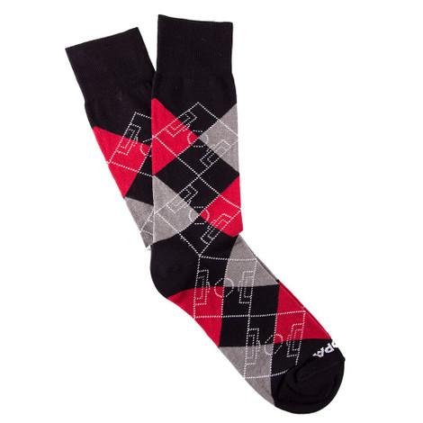 Copa Argyle Pitch Socks (Black/Red/Grey)