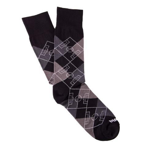 Copa Argyle Pitch Socks (Black/Grey)