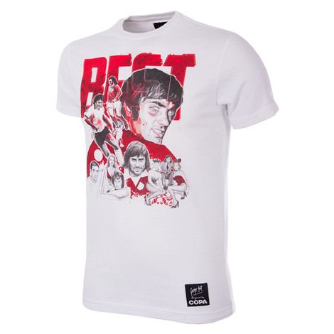 Football Fashion - George Best Collage T-Shirt - White - COPA 6766