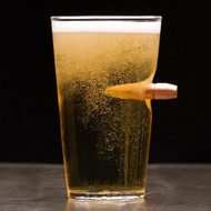 50 Cal. Real Bullet Handblown 16oz Pint Glass