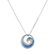 Rhodium Blue Wave Crystal Necklace