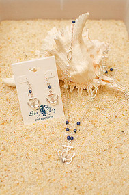 Navy Anchor/Ships Wheel Necklace & Earrings Set