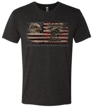 United States Navy SEALs Defenders of Freedom American Flag with Eagle and Trident in a front of shirt design