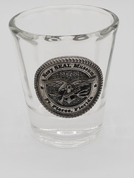 Shot glass with Pewter Navy SEAL Museum Trident Emblem