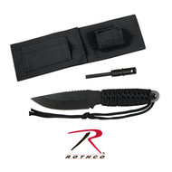"Rothco's Paracord Knife With Fire Starter measures 8"" total length and features 420 Stainless Steel Black 3.5"" Blade, the handle is wrapped with Paracord and durable Polyester Sheath with hook & loop handle Strap. Rothco's survival knife also features a 3 1/8"" magnesium fire starter and convenient storage pouch attached to the sheath, which makes the survival knife an essential part of your Bug Out Bag or camping trip."