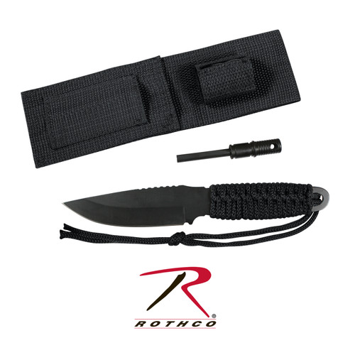 """Rothco's Paracord Knife With Fire Starter measures 8"""" total length and features 420 Stainless Steel Black 3.5"""" Blade, the handle is wrapped with Paracord and durable Polyester Sheath with hook & loop handle Strap. Rothco's survival knife also features a 3 1/8"""" magnesium fire starter and convenient storage pouch attached to the sheath, which makes the survival knife an essential part of your Bug Out Bag or camping trip."""