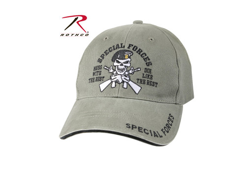 othco Vintage Special Forces Low Profile Cap is constructed of 100% brushed cotton twill, featuring Special Forces design embroidered on the front panel of the low profile hat. Rothco's twill hat also features an adjustable hook and loop closure in the back of the cap for the perfect fit.
