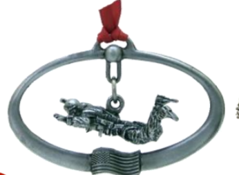 Pewter Halo Jumper Ornament with Ribbon.