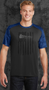 The digital CamoHex print on the sleeves, shoulders and collar give this moisture-wicking tee a bold, modern look. The main material is polyester that is equipped with an amazing feature called moisture wicking technology and is more effective then ever at keeping you comfortable and dry. There is no design on the back of the shirt.