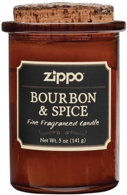 Bourbon and spice scent. 5oz soy wax blend. 10% fragrance load. Cotton wick. Natural cork lid. Burns up to 35 hours. No synthetic chemicals. Boxed.