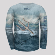 Back of Shirt Incredible graphic design, 100% dry-weave polyseter  Great for outdoor activities!  Trident spear emerges from the   rough seas!