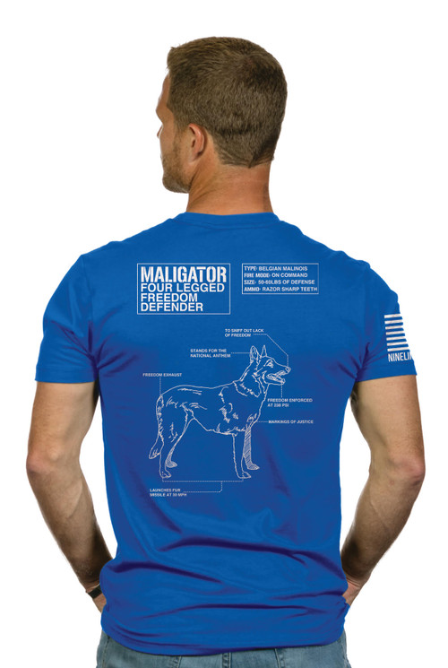 """The Belgian Malinois, also known as the Belgian Shepherd, is the predominant breed utilized by SEAL teams. Favored for their intelligence, agility, loyalty, and stealth, Belgian Malinois are fierce and fast with acute vision.  This shirt has a back schismatic that honors our four legged heroes in a fun way.  The front of the shirt features a PAW logo w Trident and museum logo Custom Museum shirt made by NineLine Apparel a """"Relentlessly Patriotic"""" US Company"""