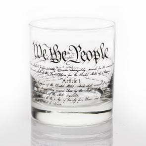 """The US Constitution  3""""W x 3 5/8""""H 11 oz capacity Glass made and printed in the USA Duratuff treated for extra strength and safety Light Top Rack Dishwasher Use All glassware comes packaged in a retail display box ready for gifting!   Glass is made with Black Ink. Ink is permanent and heat set in oven. Prints will not fade or wash off. This is Dishwasher safe, but we recommend washing by hand. Ink is FDA approved so you can feel safe about drinking out of these glasses."""