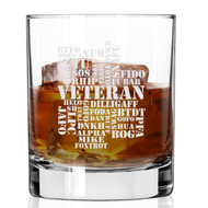 Military Jargon Etched Whiskey Glass