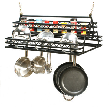 hanging potrack, panrack, lidrack and spice rack with 4 tiers for extra storage of pots, pans and lids with custom options such as: lengths, widths and over 30+ different powder coat options to choose from. Stop in at our storefront in Lamar, Mo. USA or contact us at 800-283-7107 or 417-682-5551