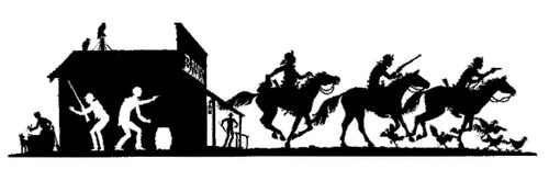 bank and bank robbers on horse back silhouette  with custom options such as: lengths, widths and over 30+ different powder coat options to choose from. Stop in at our storefront in Lamar, Mo. USA or contact us at 800-283-7107 or 417-682-5551