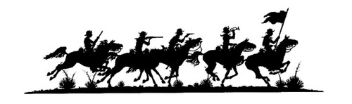 Silhouette featuring Historical Calvary Rides Again with custom options such as: lengths, widths and over 30+ different powder coat options to choose from. Stop in at our storefront in Lamar, Mo. USA or contact us at 800-283-7107 or 417-682-5551 for any custom signs.
