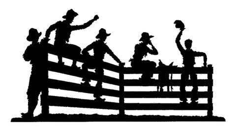Joanne's silhouette featuring cowboys sitting on the fence. This custom silhouette can be altered in lengths, widths, and custom powder coats.