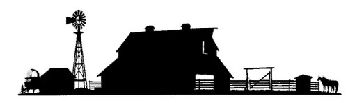 old barn silhouette with windmill and corral with custom options such as: lengths, widths and over 30+ different powder coat options to choose from. Stop in at our storefront in Lamar, Mo. USA or contact us at 800-283-7107 or 417-682-5551