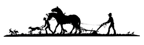 man plowing the field with horse drawn plow with custom options such as: lengths, widths and over 30+ different powder coat options to choose from. Stop in at our storefront in Lamar, Mo. USA or contact us at 800-283-7107 or 417-682-5551