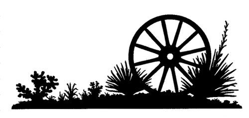 old wagon wheel silhouette with optional powder coat options. Custom silhoutte from Joanne's custom potrack website where you can choose from various widths, lengths and colors. Optional welcome sign available upon request as well as you can turn any and all silhouettes into a coat rack.