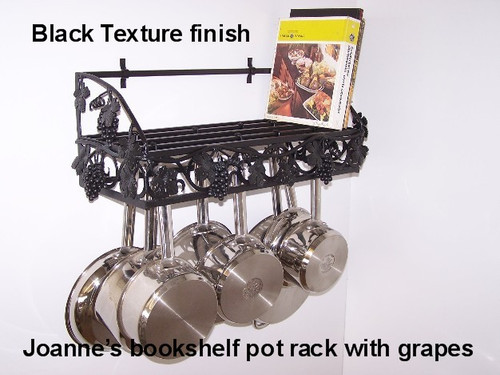 Joanne's custom grapevine potrack, bookshelf rack, cookbook shelf and panrack holder with optional rail for additional pot hooks to hold utencils, pots and pans