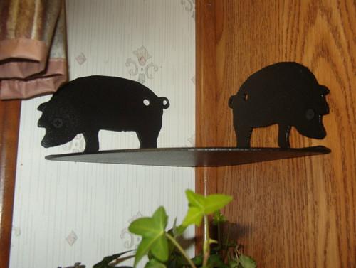 Corner shelf with pig theme, corner rack for cookbooks, utencils, pots, pans,etc