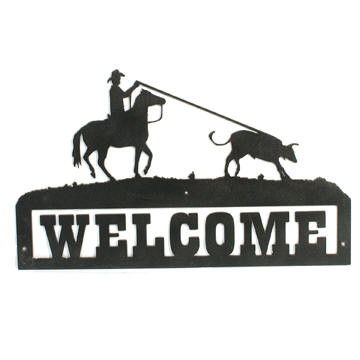 Roping cowboy welcome sign, custom signs available upon request