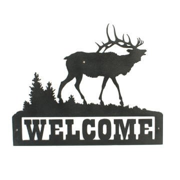 Custom welcome sign featuring an elk in his natural habitat