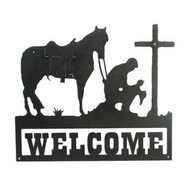 Praying cowboy silhouette, custom silhouette, praying man with horse, welcome sign, custom welcome sign with praying man