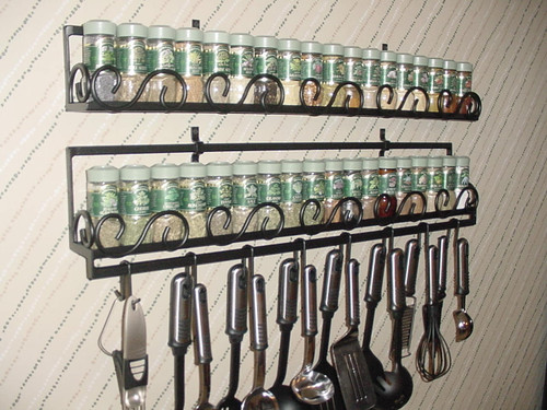 Joanne's custom potrack, panrack, and spice rack with optional accessories. Joanne's potrack with scroll front design. Panrack with scroll design and optional accessories