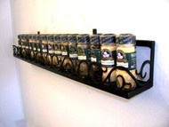 Joanne's custom potracks, panracks, spice racks and hanging potracks. Choose from over thousands of different designs, 30+ different powder coat options or hand painted copper patina, one of our most popular scroll front designs, scroll front design