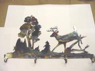 """Coat Hat Key Hanger Rack Buck Deer Outdoor Scene 18"""" X 12"""""""