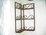 Corner Spice Rack 3 Shelves w/ Round Scroll Front Design
