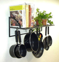 "20"" Black Textured Wall Bookshelf Pot & Lid Rack"
