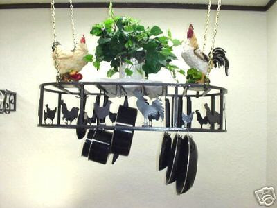 Hanging Oval Pot Rack With Chickens & Roosters