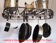 Grapevine Hanging Oval Cookware Pot Rack