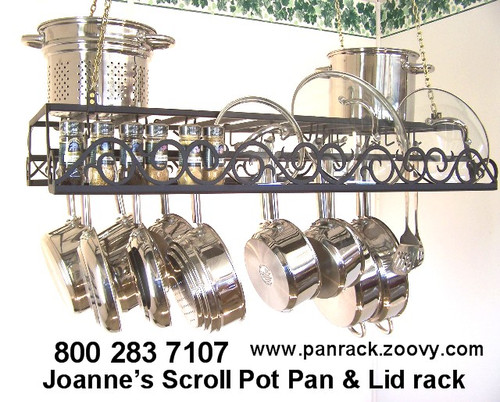 hanging panrack with flat scroll front design, hanging potrack with lidrack, custom designed by Joanne. Hanging potrack with our most popular scroll front design and thousands of custom options including: length, width, powder coat color options