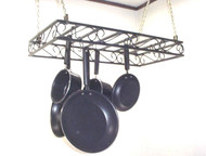 hanging rectangular potrack, hanging panrack with flat scroll front design and optional accessories, length, width and powder coat color options. Joanne's custom potracks come with 15 double sided pothooks to hang 30+ extra utensils, pots, pans, etc