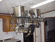 Hanging Pot Rack with Hammered Spice Plate Lid Holder