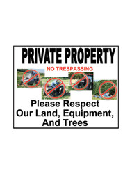 Private Property No Trespassing Sign (JB-129)