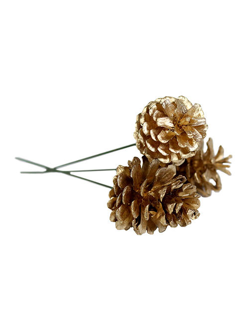 "1.5"" 3 Pine Cone Pick - Gold (WS-PCG3)"