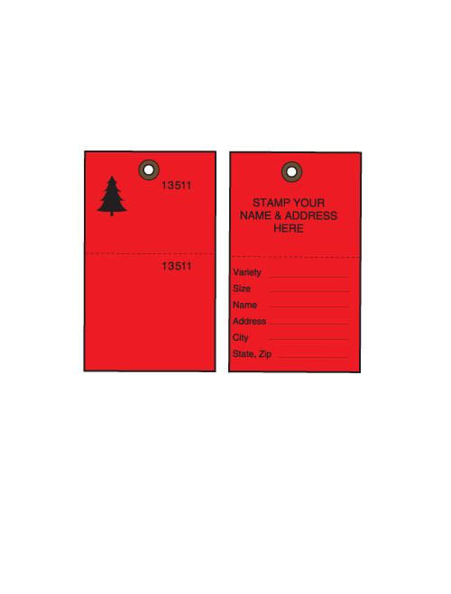 Red Tyvek Tree Tags w/ Wire Ties - 100/PK (TT-500RW)