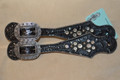 Heritage Brand Spur Straps Black Gator Clear Crystals  #4
