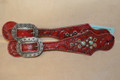 Heritage Brand Spur Straps Red Leather Grey and Turq Stones   #6
