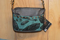 Western Leather Cell Phone Hip Bag Purse Turquoise Feather #3