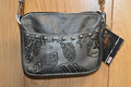 Western Leather Cell Phone Hip Bag Purse Silver Feather  #5